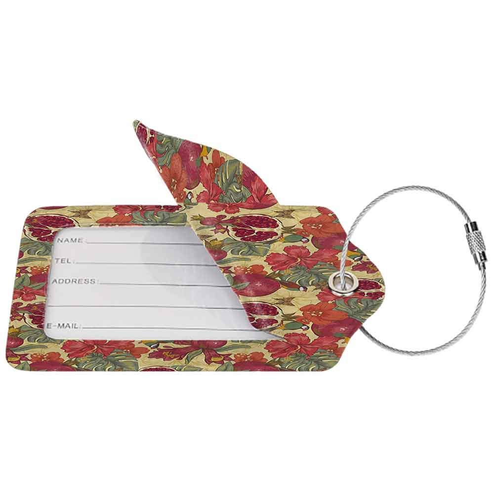 Waterproof luggage tag Red Decor Natural Tropical Exotic Birds Butterflies Flowers and Pomegranate Illustration Soft to the touch Red and Beige W2.7 x L4.6