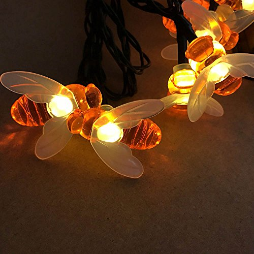 Solar String Lights Outdoor Garden Flower Fence Bumble Bee Shaped Decor Light, Warm White LT046 (Busy Bee Flowers)