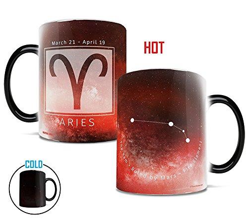 (Morphing Mugs Birthday Zodiac Sign (Aries) Heat Reveal Ceramic Coffee Mug - 11 Ounces Red)