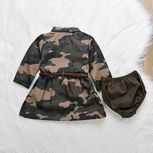 51rQRE9%2Be1L. AC - IWOKA Baby Girl Camouflage Long Sleeve Bandage Skirts+Green Short Pants Outfit Casual Clothes