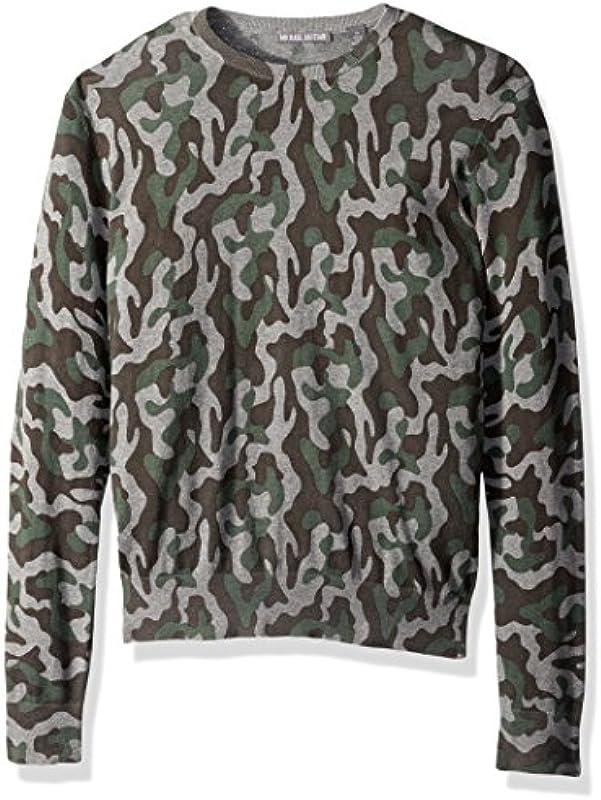 Michael Bastian Męskie Men's Printed Camo Crewneck Sweater Pullover: Odzież