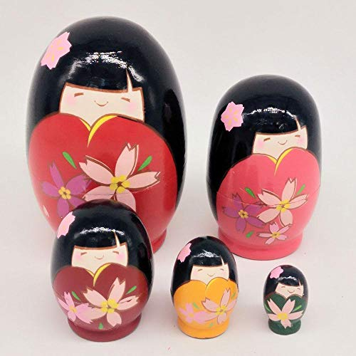 KOBWA Russian Matryoshka Kimono 5 Layers Hand Painted Handmade Wooden Nesting Dolls Birthday Christmas New Year Gift Home Decoration -