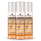 GLISS Hair Repair Leave-In Conditioner, Ultra Moisture Express Repair for Dry or Stressed Hair, 6.8 Ounces (Pack of 3)