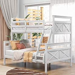 Bedroom Bunk Bed, Twin Over Full Solid Wood Bunk Bed Frame for Kids and Teenagers, White bunk beds