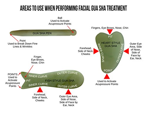 Jade Gua Sha Derma Pen Infrared Massage Therapy by Jadience: Natural Healing Stone for Scar Tissue, Facial Wrinkles, Fine Lines, Lymphatic Drainage | Chinese Acupressure Tool for Whole Body Detox by Jadience (Image #5)
