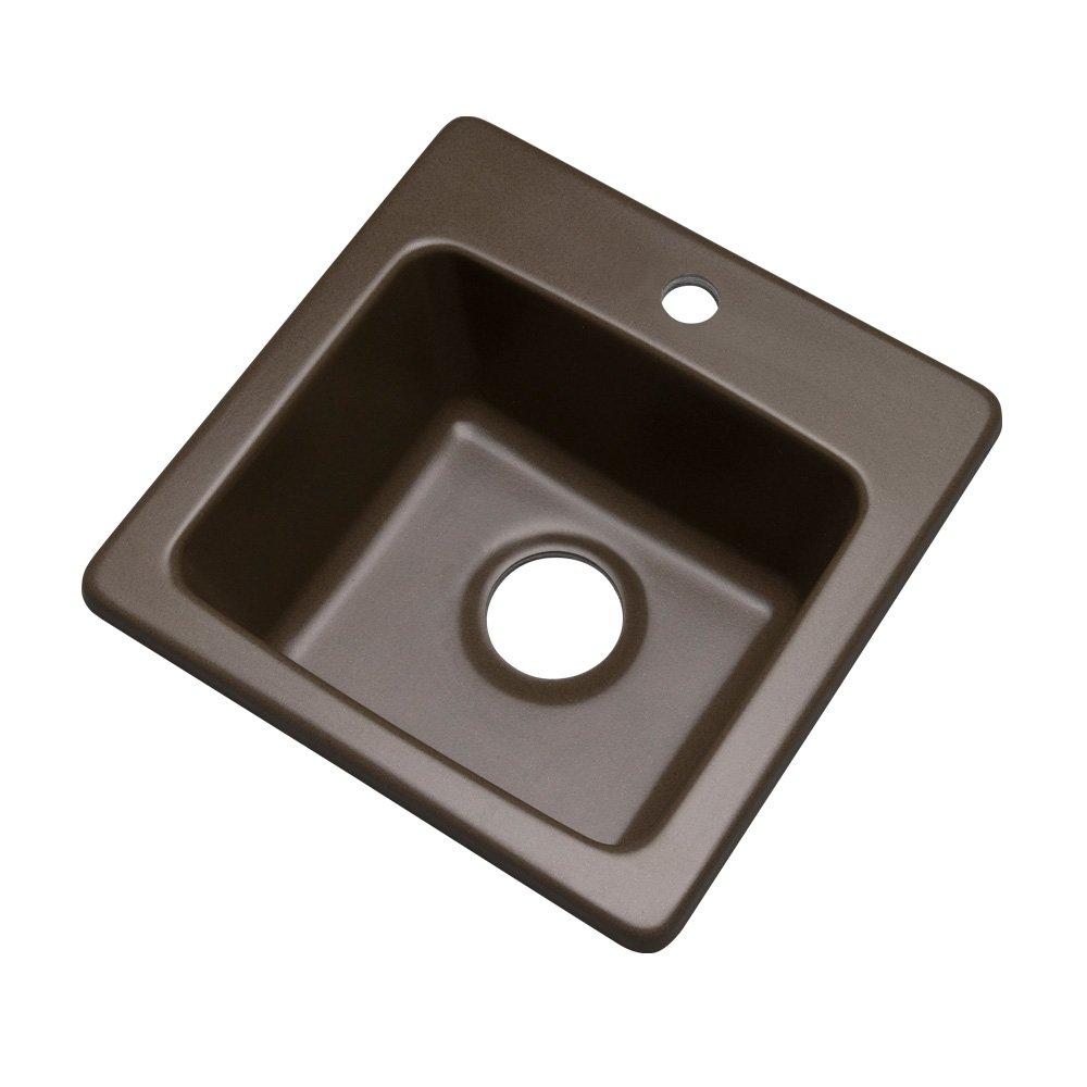 Dekor Sinks 27192Q Duxbury Composite Granite Prep Sink with One Hole, 16'', Mocha