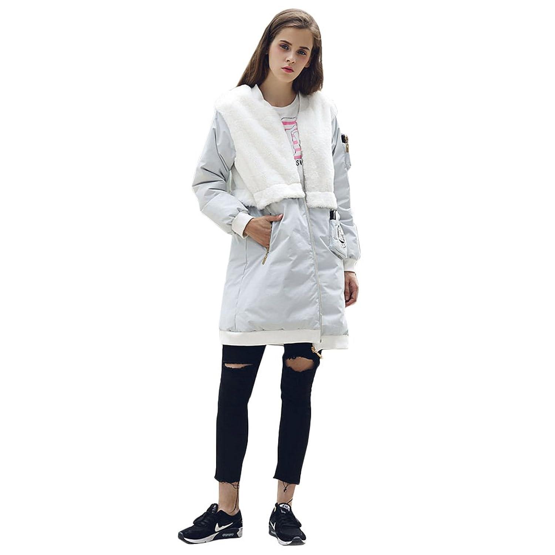 KE Womens Winter-unten verdicken Plüsch Splice Badge Zipper Jacke starke warme Mantel-Mantel