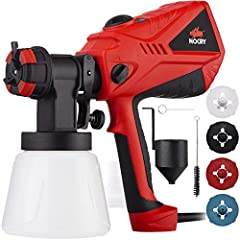 Paint Sprayer specs: Voltage: 110-120V, 50Hz Motor Output: 5A/600W Atomizing output: 1.7A Max flow rate: 40.57fl.oz/min (1200ml/min) Max viscosity: 100DIN/s Cable length: 79.5 inches Package contents:1 paint sprayer with a 33.814 fl.oz contai...