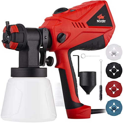NoCry 1200ml/min Electric Paint Sprayer - 5A/600W Motor, 100 DIN/s Max Viscosity, Adjustable Air and Paint Flow Controls, 33.814fl.oz Container, 3 Spray Patterns; 4 Nozzles - Sprayer No