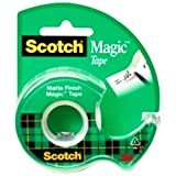 """Scotch Magic Office Tape with Refillable Dispenser, 3/4 x 300"""", Clear"""