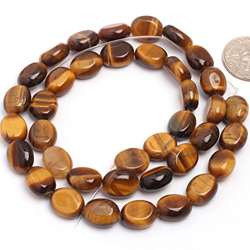 Yellow Tiger Eye Beads for Jewelry Making Natural Gemstone Semi Precious 8x10mm Oval 15