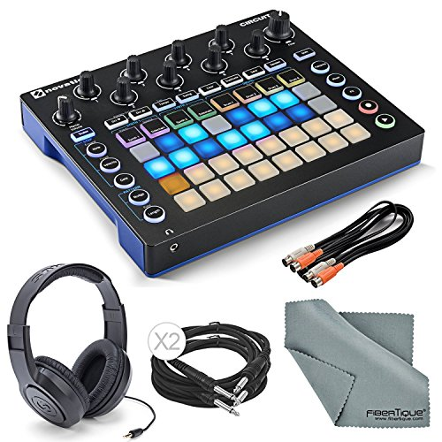 Novation Circuit Groove Box and Sample Import Bundle with 2 MIDI to 2 MIDI (Dual) Cable + Samson Stereo Headphones + Fibertique Cleaning Cloth