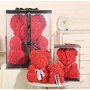 Rose Bear Artificial Rose Bear Valentine's Day Birthday Wedding Flower Gift for Girls Women,Creative Gift Including Gift Box 82