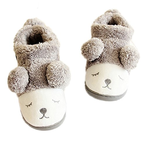 MiYang Women's Warm Plush Soft Sole Indoor Slipper Grey(High Top) 8 B(M) US