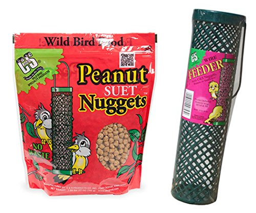 C&S Products Company Suet Nuggets Peanut Flavored Bundled with Wire Feeder Basket, Perfect for Birds Year -