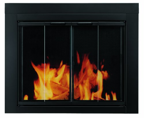 Pleasant Hearth AT-1000 Ascot Fireplace Glass Door, Black, Small (Fold Doors Screens Bi)
