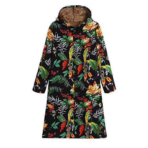 HYIRI ✈ Retro Floral Print Hooded Pock,Womens Winter Warm Outwear Vintage Oversize Coats
