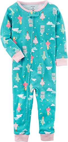 (Carter's Baby Girls' 1-Piece Snug Fit Cotton Footless Pajamas (Castles, 12 Months) )