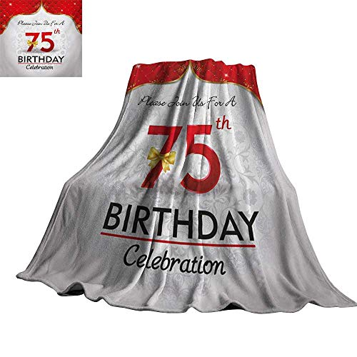 Angoueleven 75th Birthday,Personalized Blankets Royal Classical Birthday Party Floral Invitation Ceremony Please Join Us Throws for Couch Bed Living Room 70