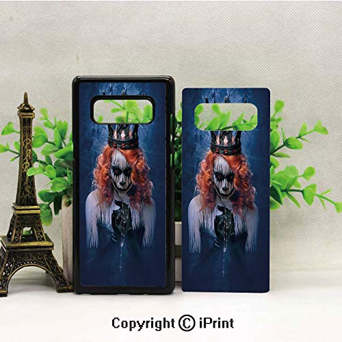 Galaxy Note 8 Case Heavy Duty Protection Shock Absorption Slim Soft TPU Cover Queen of Death Scary Body Art Halloween Evil Face Bizarre Make Up Zombie Pattern for Samsung Galaxy -