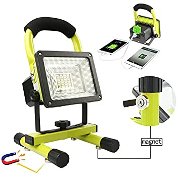Rechargeable Work Lights with Magnetic Base - 15W 24LED Waterproof Outdoor Camping Lights, Built-in Lithium Batteries, 2 USB Ports to Charge Mobile Devices, Emergency Flashing Modes (Green)