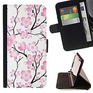 Momo Phone Case / Flip Funda de Cuero Case Cover - Rama Wallpaper Flores rosas ?rbol floral - Samsung Galaxy E5 E500