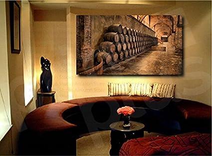 Amazon.com: Wine Cellar Barrels Canvas Fine Art Print Home Wall ...