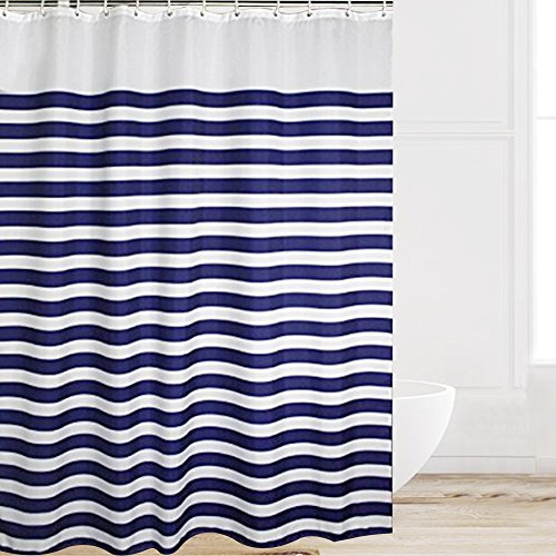 Eforcurtain Extra Long Nautical Stripes Mildew-Free Water-Repellent Fabric Shower Curtain,Navy and White (72-Inch by 78-Inch, Stripe)