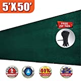 EVERGROW 5' x 50' Dark Green Privacy Fence Screen with Brass Grommets Heavy Duty 150 GSM Pefect for Outdoor Back Yard and Deck, Free Zip Ties, 90% UV Blockage 5 feet x 50 feet Green