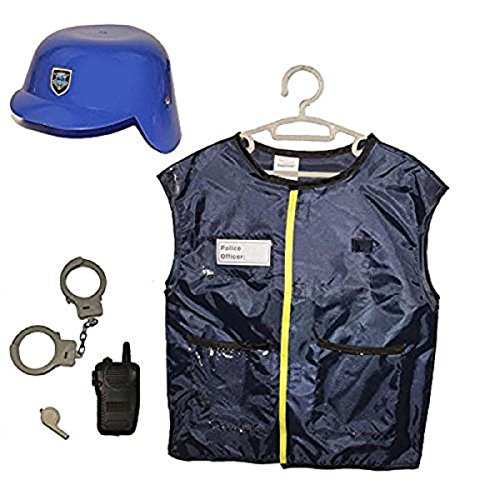 [Dazzling Toys Kids Pretend Play Police Officer Costume Set with Accessories] (Man Construction Worker Costume)