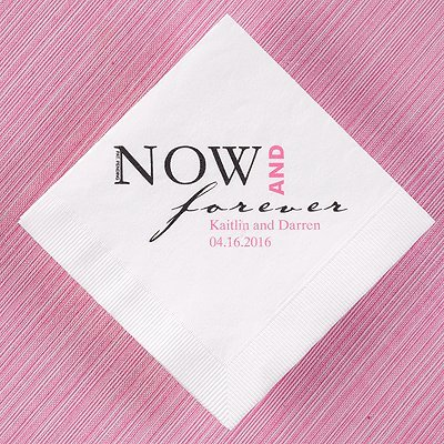 Now & Forever Wedding Personalized Napkins White Luncheon Size 100 (Now And Forever Bridal)