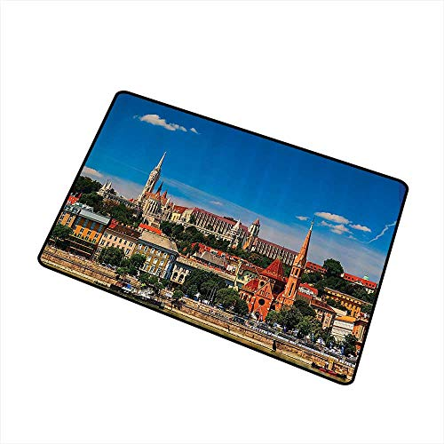 - Washable doormat Wanderlust Decor Collection Budapest Hungary Exterior Europe Dome Architecture by River Landmark Picture W20