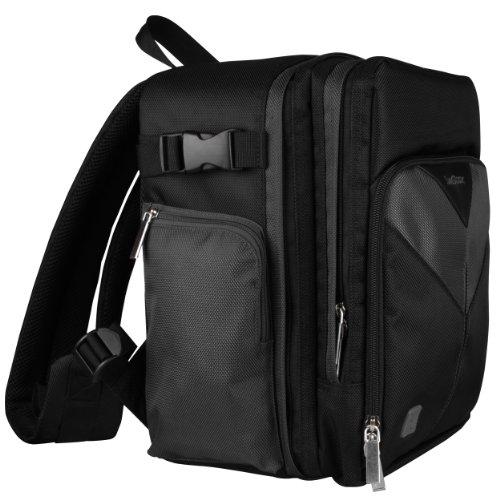 Sparta Travel Nylon Backpack Bag (Jet Black) for Panasonic Lumix FZ47, Lumix FZ70 DSLR Camera