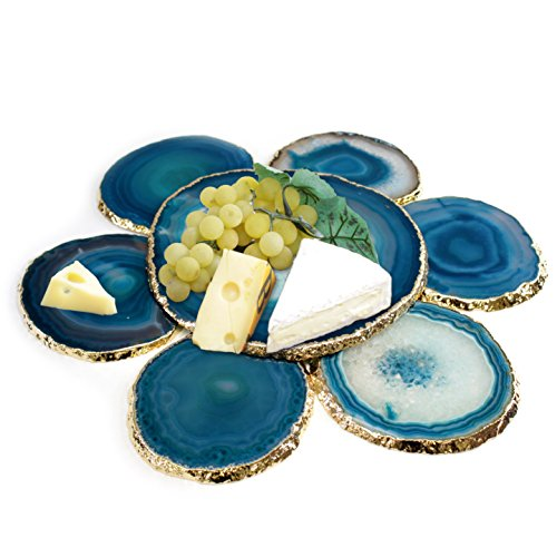 Unique & Elegant Wine & Cheese Serving Set - Authentic Brazilian Agate 24K Gold Plated Platter (6.5''-7'') with 6 Matching Coasters (3.5''-4'') Rubber Bumpers & Authenticity Card Included (TEAL) by The Royal Gift Shop