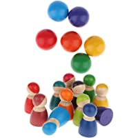 Montessori 12-Piece Rainbow Friends Wooden Peg Dolls & 6-Piece Balls, Matching Toy of Rainbow Nesting Puzzles Blocks