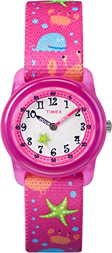 Timex Youth TW7C13600 Kid's Elastic Starfish Imprint Fabric Band Time Teacher Watch