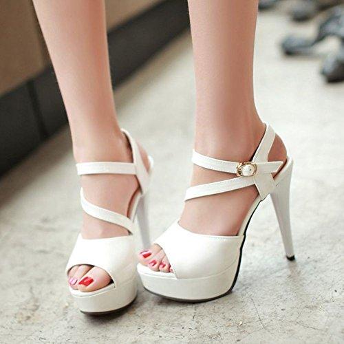 Moda de tacón alto zapatos de las mujeres/ sexy cruz zapatos boca de pescado/Sandalias de Joker A