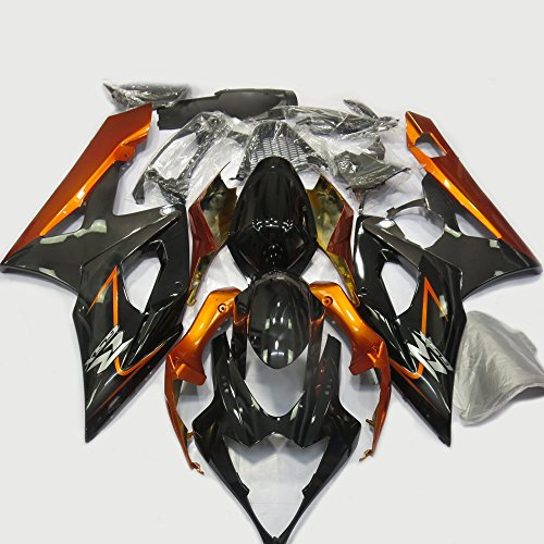 ABS Injection Molding - Orange & Black Painted with Graphic Fairing Kit for Suzuki GSXR 1000 K5 (2005-2006)