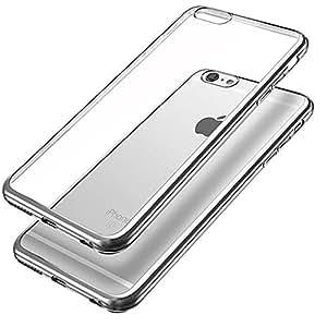 iPhone 6 Funda, iPhone 6s Funda, Chapado de metal marco de TPU funda &suave choque Ultra-Thin Resistente Funda protectora transparente para Apple iphone 6s / 6---plata