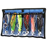 Octopus Skirts Trolling Lures Saltwater Tuna Marlin Wahoo Trolling Skirt Lures with Stainess Steel Hook and Swivel Rigged Leader Hook and Bag Included Tuna 9 Inch Big Game Trolling Lure Pack of 6pcs