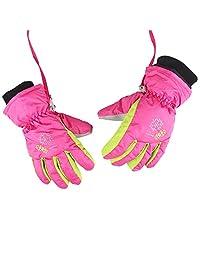 XTACER Boy's Girl's Kid's Kids Winter Warm Ski Snow Gloves (Pink, XS)