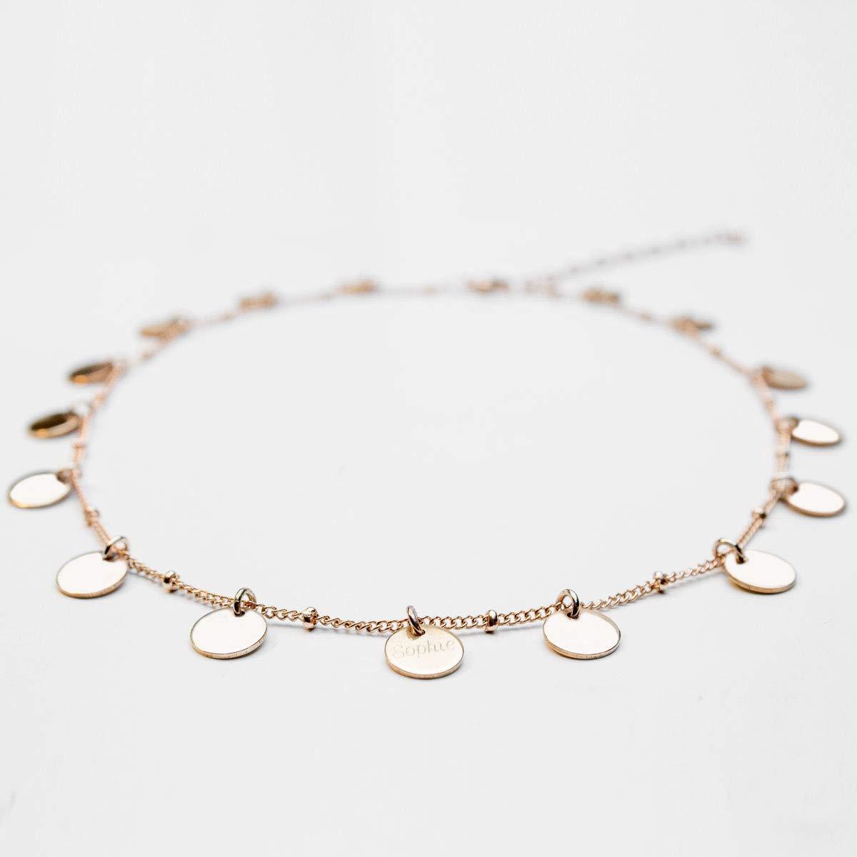 Halskette Choker'Rose' mit gravierbaren Plä ttchen | Namenskette | Kette mit Gravur | Namenskette | Personalisierter & individueller Schmuck | Stainless Steel