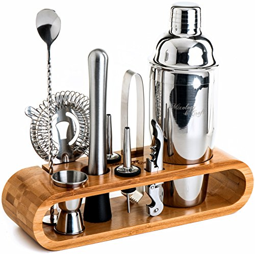 Caddy Chrome Bar - Mixology Bartender Kit: 10-Piece Bar Tool Set with Stylish Bamboo Stand - Perfect Home Bartending Kit and Martini Cocktail Shaker Set For an Awesome Drink Mixing Experience - Exclusive Recipes Bonus
