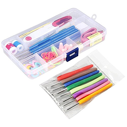 57 Pack Crochet Hooks Set Knitting Needles Kit Ergonomic Soft Rubber Handle Hooks 0.6mm to 6.0mm in US Standard Sizes with Complete Knitting Needle Accessories in Storage Case by KingBarry