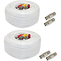 GW Security 2 Pack 200 Feet Video Power Pre-Made All-in-One BNC Cable CCTV Camera Wire Cord with Extension BNC Female Connectors for HD 1080p / 720p / 960H Camera and DVR