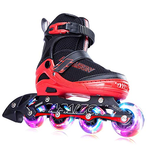 (PAPAISON SPORTS Adjustable Inline Skates for Kids and Adults with Full Light Up LED Wheels, Outdoor Rollerblades for Girls and Boys, Men and)