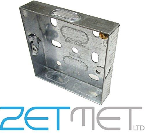 Single 1 Gang 16mm Metal Pattress Electrical Wall Back Box Socket Switch Europower