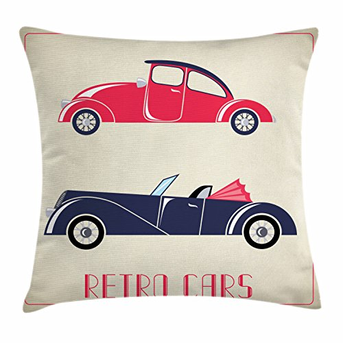 Cars Throw Pillow Cushion Cover by Ambesonne, Old Fashioned Cars Convertible Urban Vehicles Classical Roadsters, Decorative Square Accent Pillow Case, 36 X 36 Inches, Dark Coral Night Blue Pink - Convertible Studio Lounge