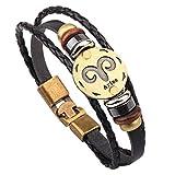 Winter's Secret Hand Braided Twelve Constellations Pattern Black Leather Alloy Pull Clasp Wrap Bracelet