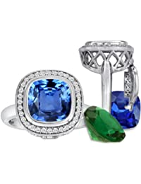 Cushion Cut Simulated Blue Topaz Halo Ring Total of 12 Simulated Stones Sterling Silver